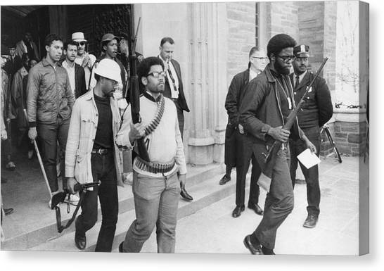 Cornell University Canvas Print - Armed Blacks Occupy Cornell by Underwood Archives