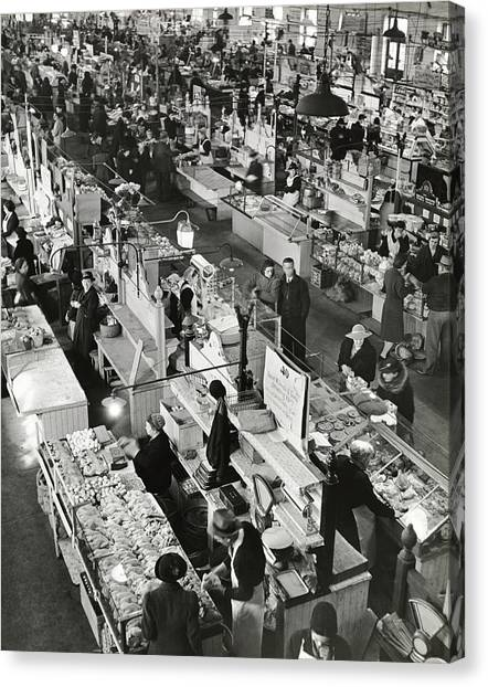 Clothing Store Canvas Print - Armish Market In Lancaster by George Karger