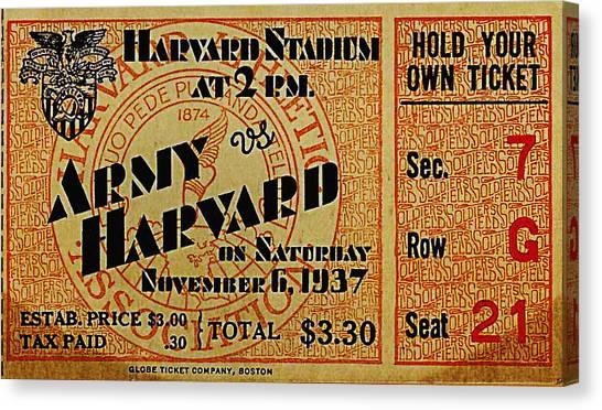 Boston College Canvas Print - Army Vs Harvard 1937 Ticket Stub by Bill Cannon
