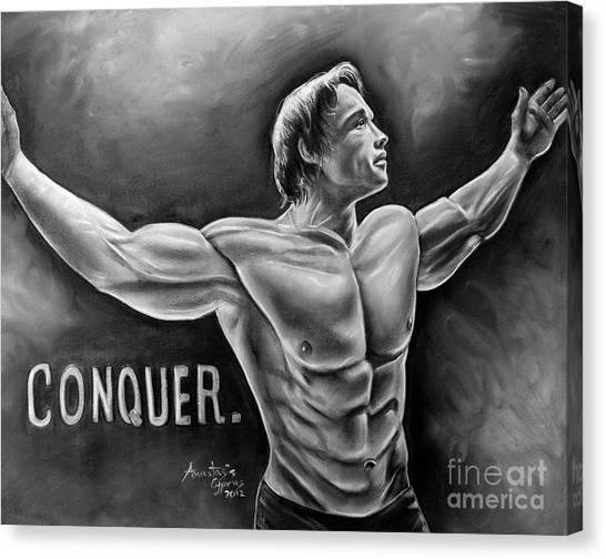 Arnold Schwarzenegger Canvas Print - Arnold Schwarzenegger / Conquer by Anastasis  Anastasi