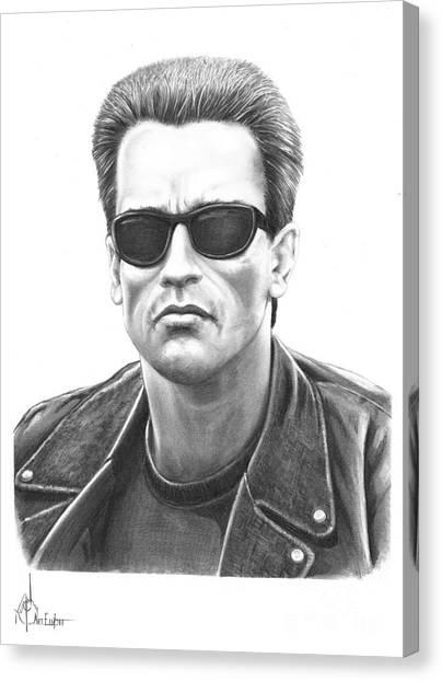 Arnold Schwarzenegger Canvas Print - Arnold Schwarzenegger Terminator by Murphy Elliott