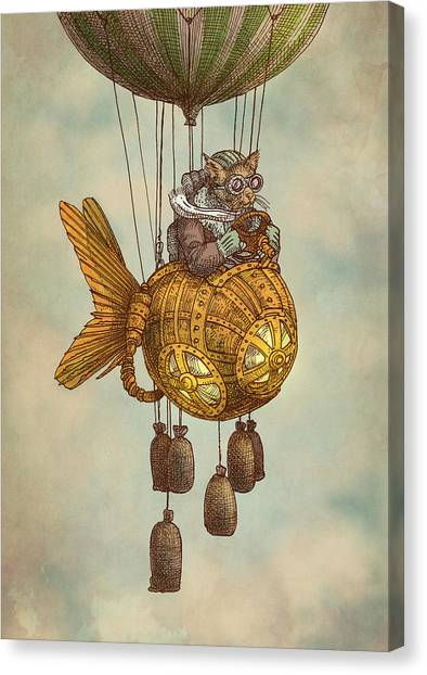 Balloons Canvas Print - Around The World In The Goldfish Flyer by Eric Fan