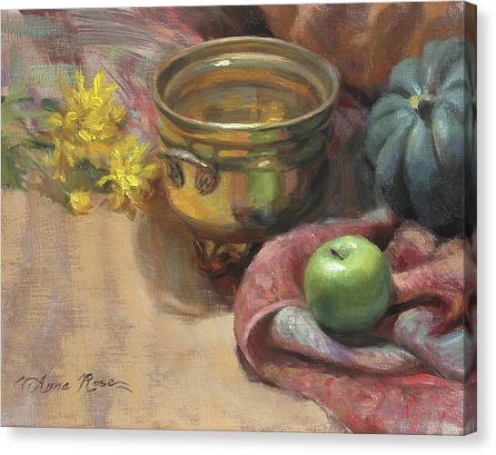 Brass Canvas Print - Arrangement In Gold And Green by Anna Rose Bain