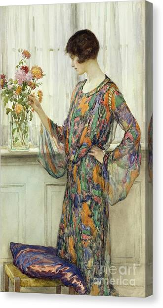 Stools Canvas Print - Arranging Flowers by William Henry Margetson