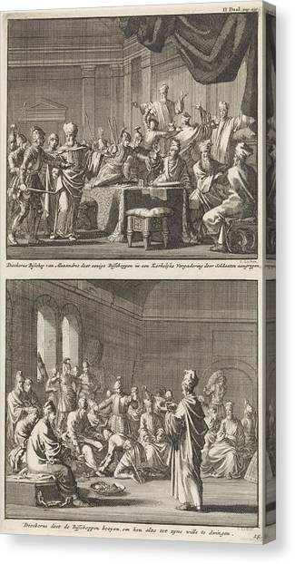 Early Christian Art Canvas Print - Arrest Of Some Bishops At The Order Of Bishop Dioscorus by Jan Luyken And Jacobus Van Hardenberg And Barent Visscher