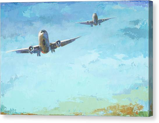 Airplanes Canvas Print - Arrivals #3 by David Palmer