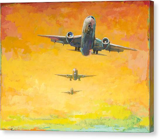 Airplanes Canvas Print - Arrivals #4 by David Palmer