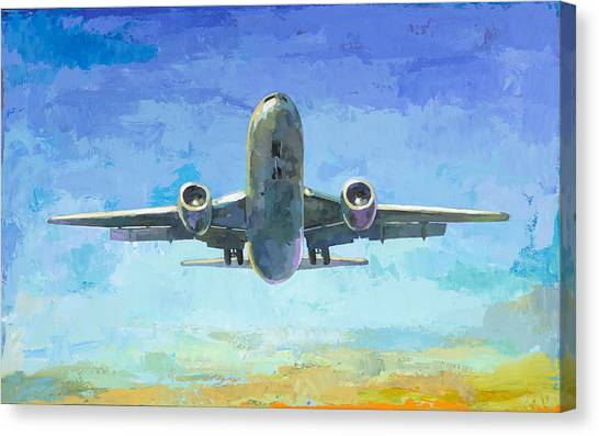 Airplanes Canvas Print - Arrivals #5 by David Palmer