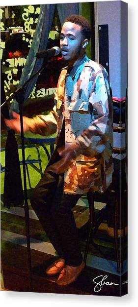 Arrow The Poet At Gigi's Music Cafee Canvas Print by Shawn Lyte
