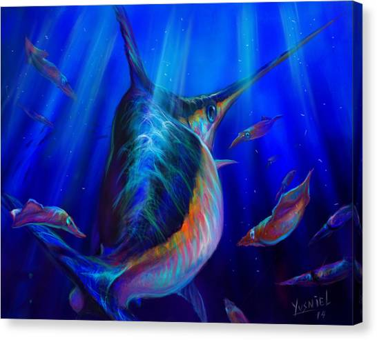 Fish Tanks Canvas Print - Arrows Vs One Sword   by Yusniel Santos