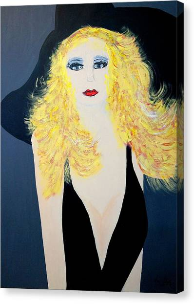 Art Deco Girl With Black Hat Canvas Print