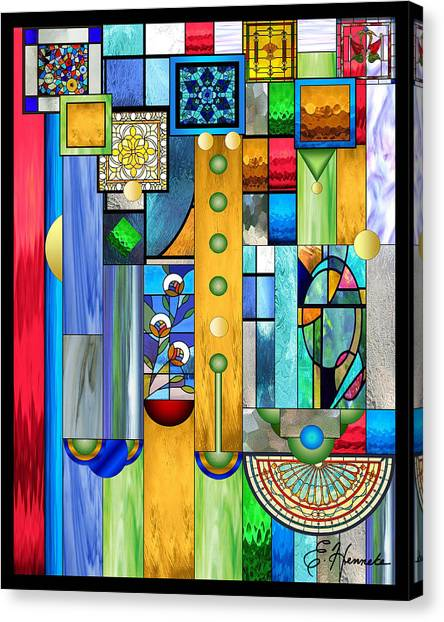Panes Canvas Print - Art Deco Stained Glass 1 by Ellen Henneke