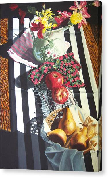 art for sale still life oil painting print Stripes and Fruit Forever  Canvas Print by Diane Jorstad