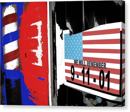Jasper Johns Canvas Print - Art Homage Jasper Johns American Flag 9-11-01 Memorial Collage Barber Shop Eloy Az 2004-2012 by David Lee Guss