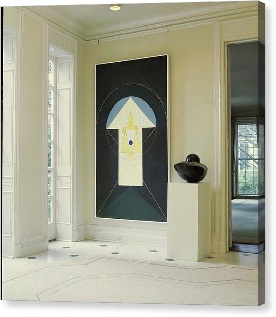 Art In John D. Murchison's Hallway Canvas Print by Horst P. Horst
