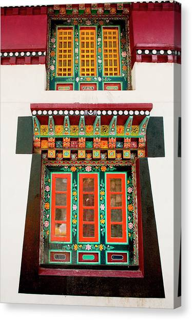 Art In Monastery Architecture, Sikkim Canvas Print by Jaina Mishra