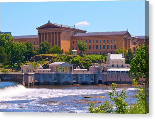 Art Museum And Fairmount Waterworks - Hdr Canvas Print