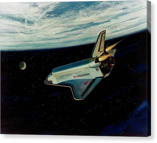 Space Shuttle Canvas Print - Art Of Space Shuttle Re-entry To Earth by Nasa/science Photo Library