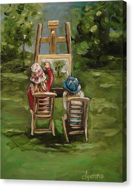 Art Of Teaching Oil Painting Canvas Print by Dyanne Parker