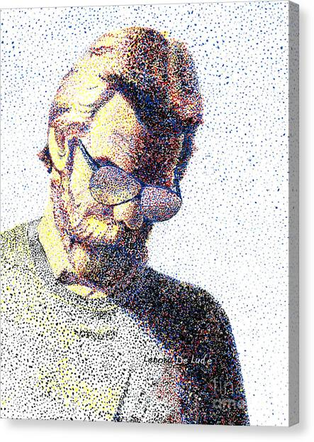 Art Pointillism Male Portrait  Canvas Print