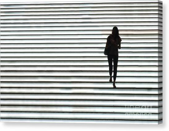 Hong Kong Canvas Print - Art Silhouette Of Girl Walking Down by Lars Ruecker
