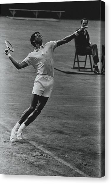 Polo Canvas Print - Arthur Ashe Playing Tennis by Jack Robinson