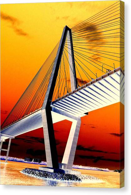 Arthur Ravenel Bridge 18 Canvas Print by Ron Kandt