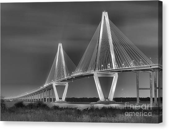 Arthur Ravenel Jr. Bridge In Black And White Canvas Print