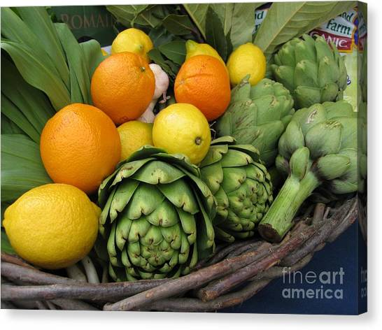Artichokes Lemons And Oranges Canvas Print