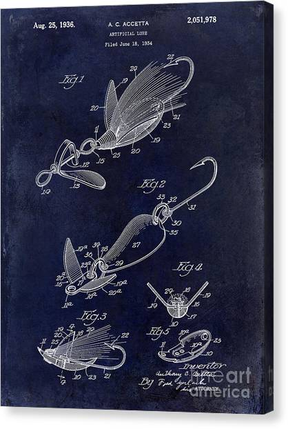 Fishing Poles Canvas Print - 1936 Artificial Bait Patent Drawing Blue by Jon Neidert
