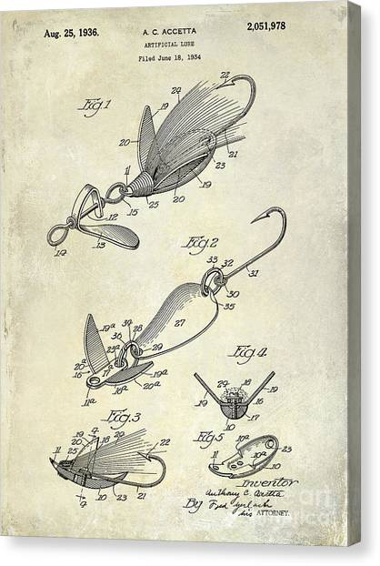 Fishing Poles Canvas Print -  1936 Artificial Bait Patent Drawing  by Jon Neidert