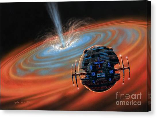Artificial Planet Orbiting A Black Hole Canvas Print