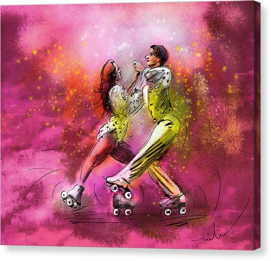 Roller Skating Canvas Print - Artistic Roller Skating 01 by Miki De Goodaboom