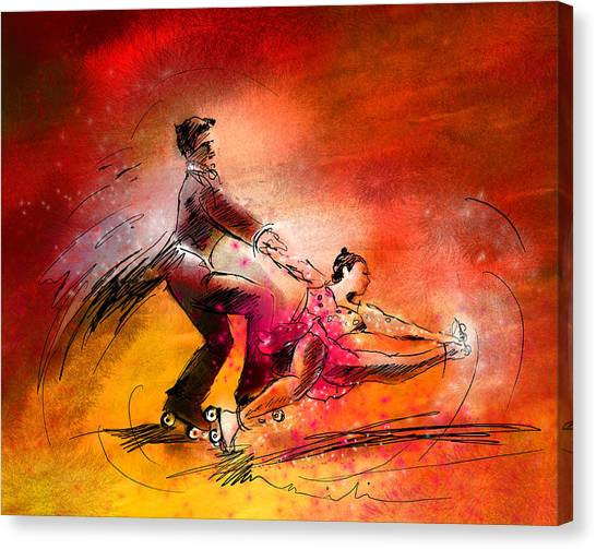 Roller Skating Canvas Print - Artistic Roller Skating 02 by Miki De Goodaboom