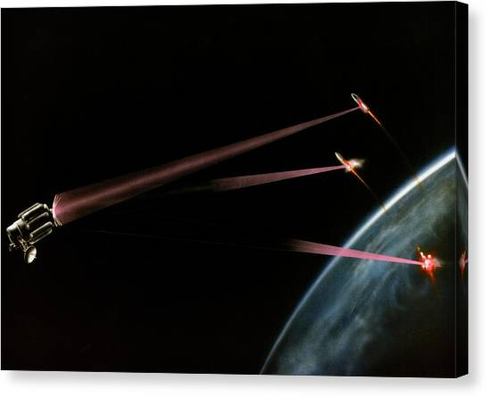 Artist's Impression Of Space-based Sdi Laser Canvas Print by Us Department Of Energy / Science Photo Library