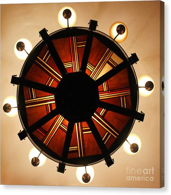 Arts And Crafts Chandelier At Summit Inn Canvas Print