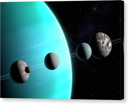 Uranus Canvas Print - Artwork Comparing The Moons Of Uranus by Mark Garlick