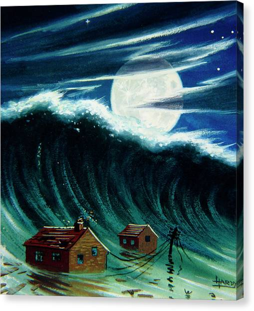 Tsunamis Canvas Print - Artwork Of A Tsunami Destroying Buildings by David A. Hardy/science Photo Library