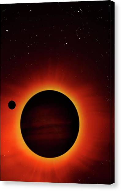 Solar Eclipse Canvas Print - Artwork Of Exoplanet Eclipsing Its Star by Mark Garlick