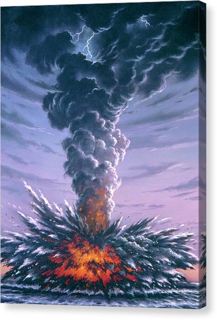 Krakatoa Canvas Print - Artwork Of Explosion Of Krakatau In 1883 by David Hardy/science Photo Library