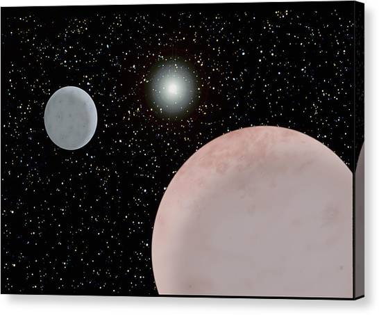 Pluto Canvas Print - Artwork Of Pluto And Charon by Science Photo Library
