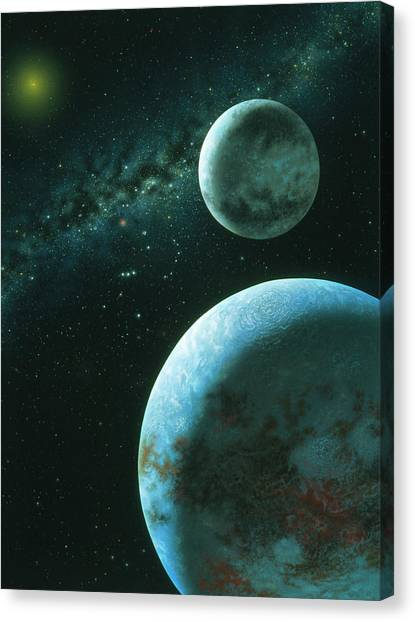 Pluto Canvas Print - Artwork Of Pluto And Its Moon Charon by Lynette Cook/science Photo Library