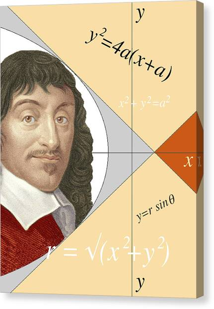 Philosopher Canvas Print - Artwork Of Rene Descartes With Equations And Lines by Sheila Terry/science Photo Library