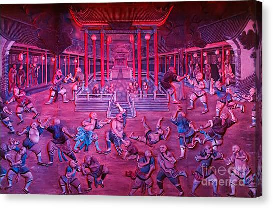 Kung Fu Canvas Print - Artwork Of Shaolin Monks Practicing In Front Of The Temple by Oleksiy Maksymenko
