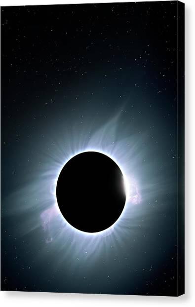 Solar Eclipse Canvas Print - Artwork Of Solar Corona by Mark Garlick