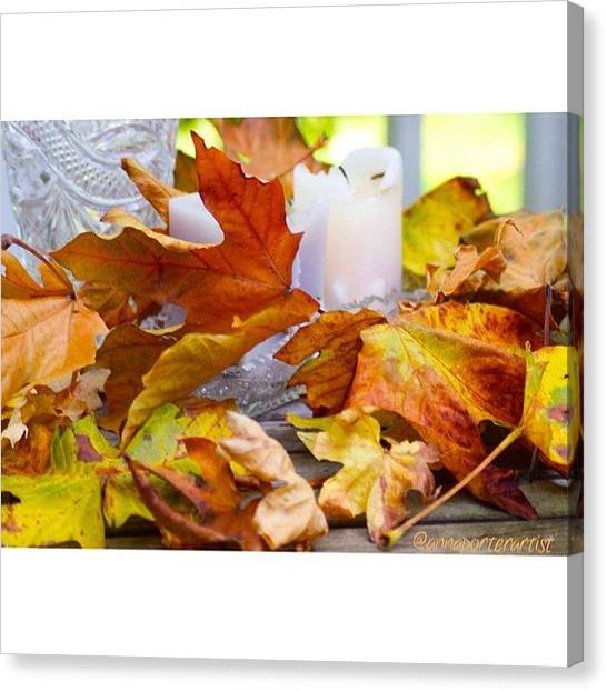 Autumn Leaves Canvas Print - Maple Leaves Candles And Crystal by Anna Porter