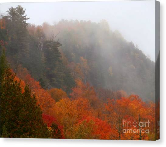 As The Fog Rolls In Canvas Print by Steven Valkenberg