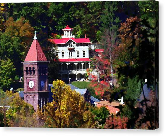 Asa Packer Mansion With Court House In Jim Thorpe Pa Canvas Print by Jacqueline M Lewis
