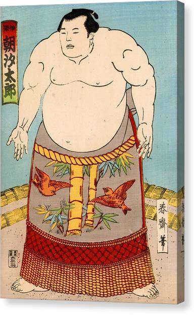 Wrestling Canvas Print - Asashio Toro A Japanese Sumo Wrestler by Japanese School
