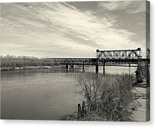 Asb Bridge Over The Missouri River Canvas Print